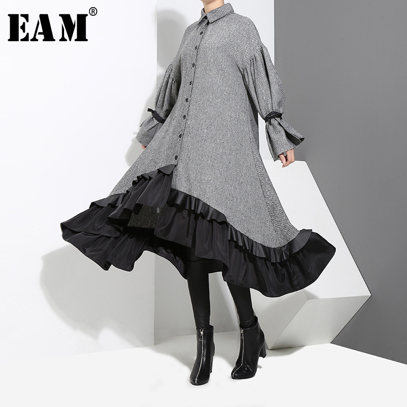 [EAM] 2020 New Spring Lapel Long Sleeve  Bandage Solid Color Gray Big Hem Irregular Loose Dress Women Fashion Tide JD717