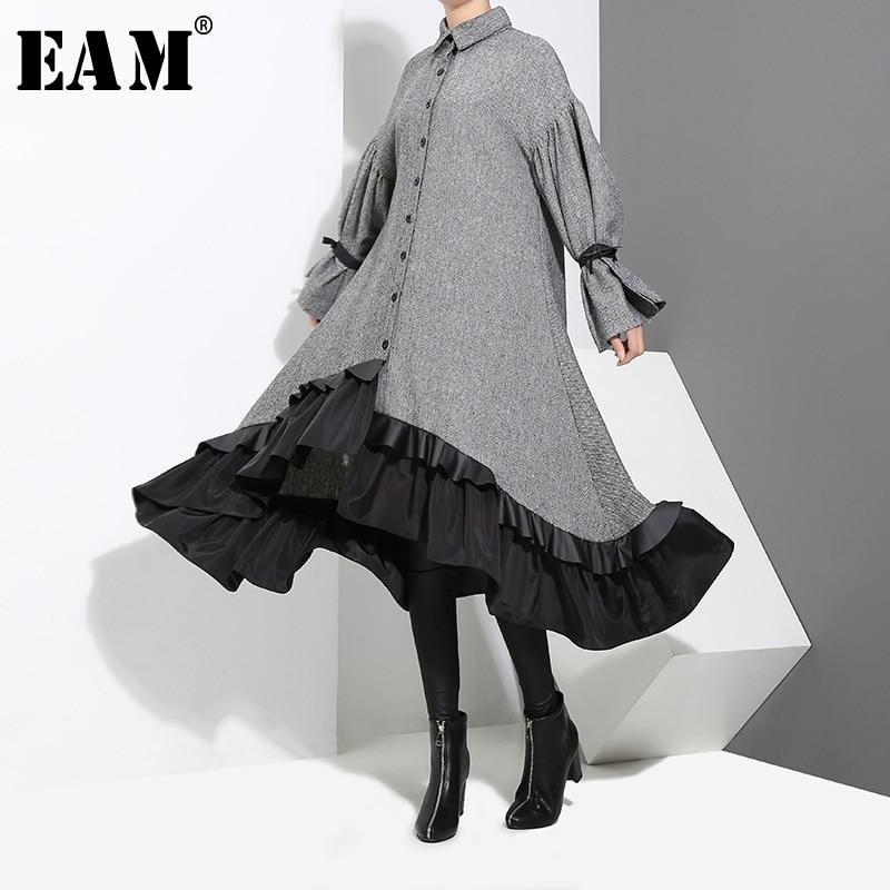 [EAM] 2020 New Spring Lapel Long Sleeve  Bandage Solid Color Gray Big Hem Irregular Loose Dress Women Fashion Tide JD717