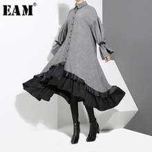 [EAM] 2020 nouveau printemps revers à manches longues pansement couleur unie gris grand ourlet irrégulière robe ample femmes mode marée JD717