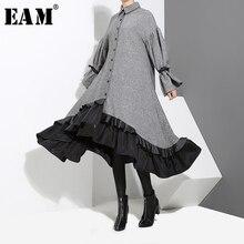 [EAM] 2020 nowa wiosna Lapel długim rękawem bandaż Solid Color szary duże obszycie niesymetryczna luźna sukienka kobiety mody fala JD717