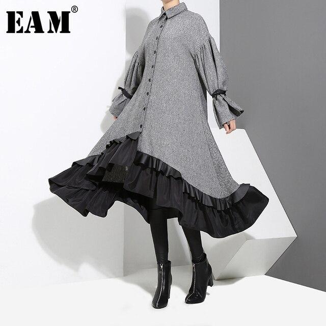 [EAM] 2020 새로운 봄 옷깃 긴 소매 붕대 솔리드 컬러 그레이 빅 헴 불규칙한 루즈 드레스 여성 패션 조수 JD717