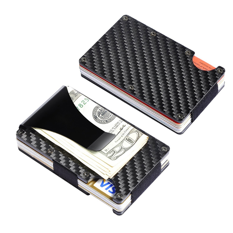 Simple Carbon Fibre High Quality Silver Dollar Cash Clamp Fashion Slim Credit Card Holder Metal Wallet Purse Male Clip Clamp