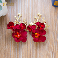 2pcs Charm red floral hairgrips pearl women hair clips high quality hairpins bridal hairwear wedding accessories Gifts wanrou