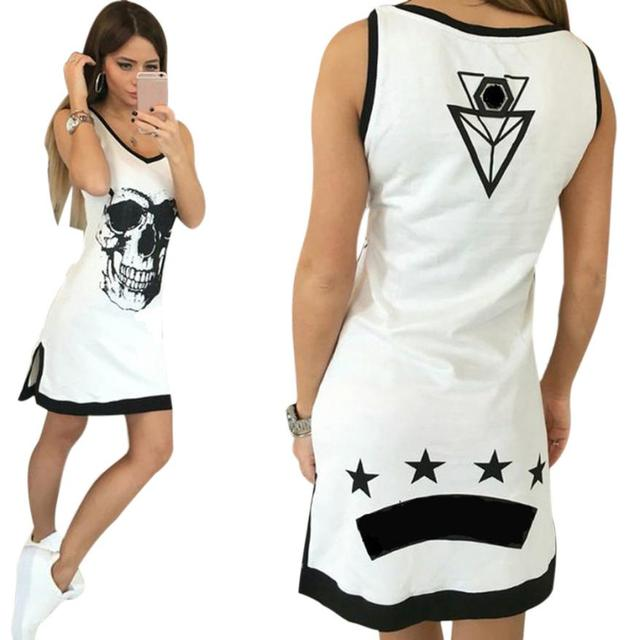 Mooistar #W030 2017 Women Casual Fashion Sleeveless Skull Print Vest Dress 1