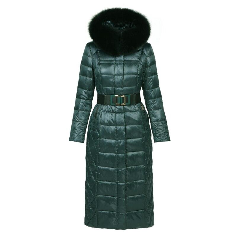 Autumn Winter Women Parkas   Down     Coats   Real Fox Fur Hoody 90% Duck   Down   Lady X-Long Outerwear Overcoat LF5200