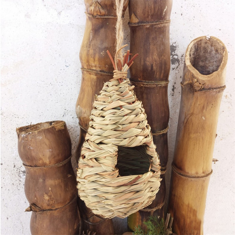 Pet Products Natural Water-drop Shaped Bird House Straw Weaving Bird Cages Decoration For Home Garden Straw Weaving Pet Parrot Hanging Nest