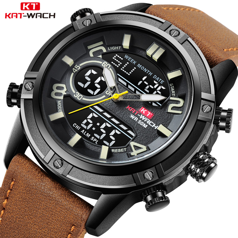 KAT-WACH Luxury Brand Mens Watch Leather Fashion Sport Watch Man Quartz LED Digital Clock Waterproof Military Wrist Watch menKAT-WACH Luxury Brand Mens Watch Leather Fashion Sport Watch Man Quartz LED Digital Clock Waterproof Military Wrist Watch men