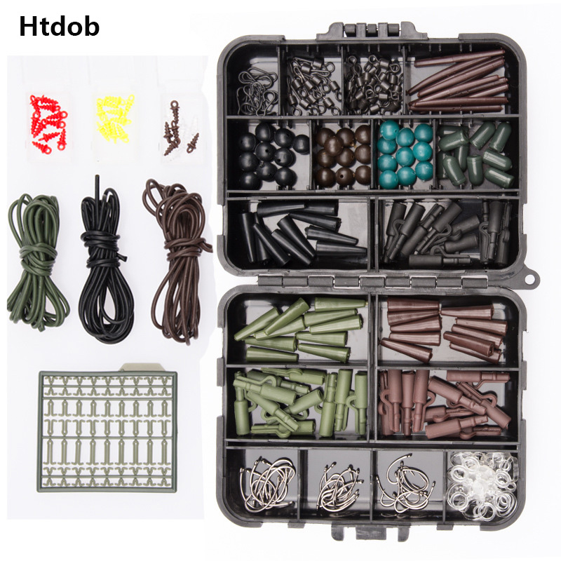Htdob Assorted Carp Fishing Accessory Line Stopper Hook Swivel Rubber Sleeve Sinker Lock Hair Rig Terminal Tackle Box