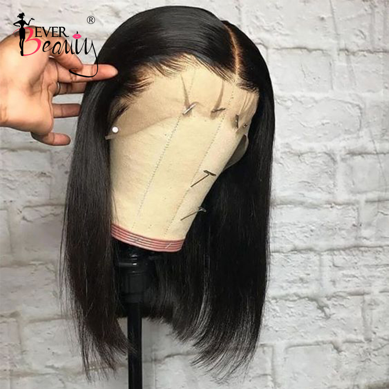 13x6 Short Lace Front Bob Wig Straight Lace Front Human Hair Wigs Pre Plucked Bleached Knots
