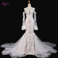 Waulizane Sparkly Embroidery Applique Lace Mermaid Wedding Dress Hot Sale With Button Long Sleeves Off The