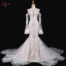 Waulizane נוצץ רקמת Applique תחרת בת ים חתונת שמלת מכירה לוהטת עם כפתור ארוך שרוולים כבוי כתף שמלת כלה