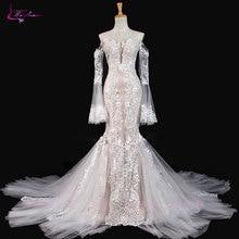 Waulizane sparkly bordado applique laço sereia vestido de casamento venda quente com botão mangas compridas fora do ombro vestido de noiva