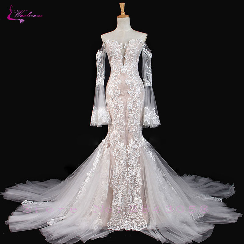 Vestido de Casamento Quente com Botão Fora do Ombro Vestido de Noiva Waulizane Sparkly Bordado Applique Laço Sereia Venda Mangas Compridas