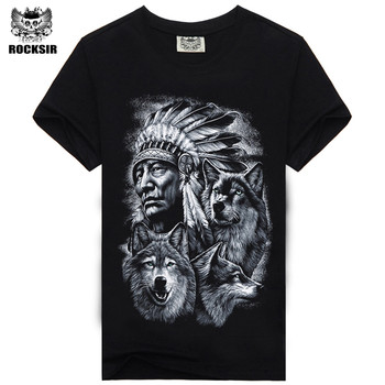 Rocksir Fashion Brand 3D Indians wolf Print T shirts O neck Short Sleeves Cotton wolf Men t-Shirt Casual Man Tees Mens Tops