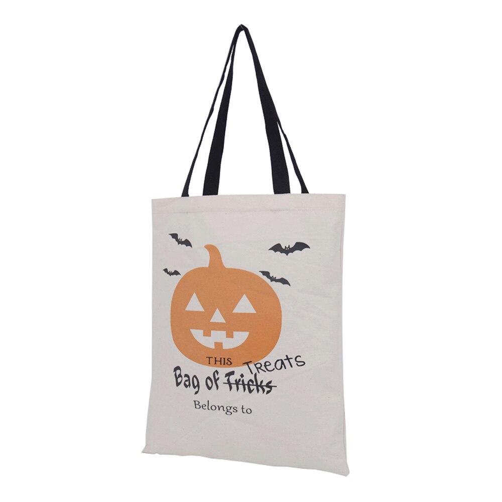 DDM 2017 Bolsas Halloween Candy Bag Gift Bag Canvas Tote Casual Beach Bags Shopping Bag Handbag 25 Dropshipping USPS