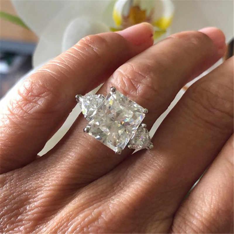 แหวนดีไซน์สแควร์ 3ct AAAAA หิน Cz 925 Sterling silver Party งานแต่งงานแหวนผู้หญิงผู้ชายเครื่องประดับที่ดีที่สุดของขวัญ