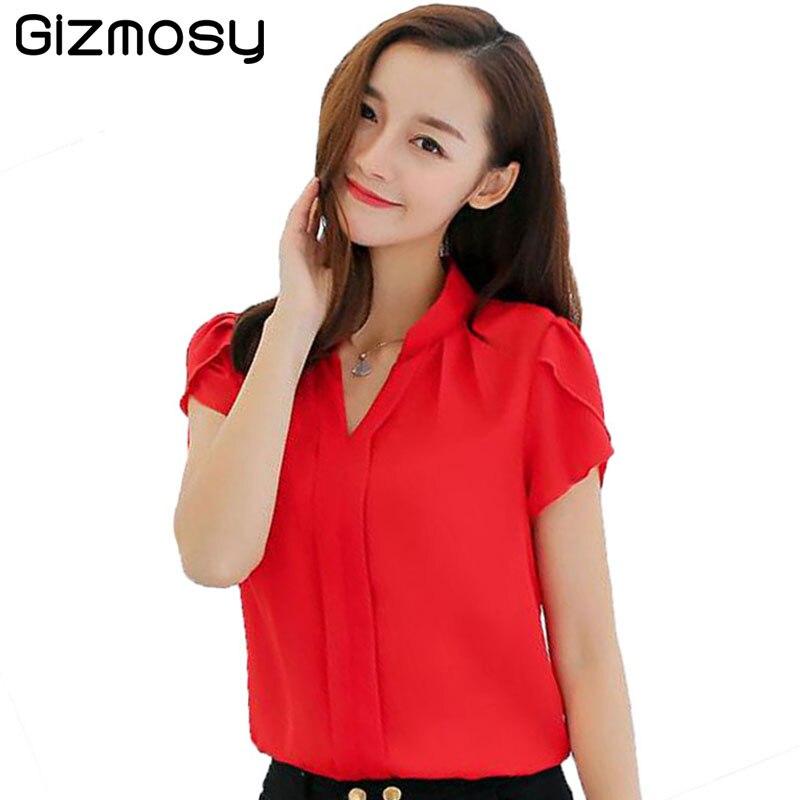 Brand Women Body Blouse Shirt Short Sleeve V neck White Red Pink Summer Autumn Female Clothing Korean Work Wear Tops BN2563