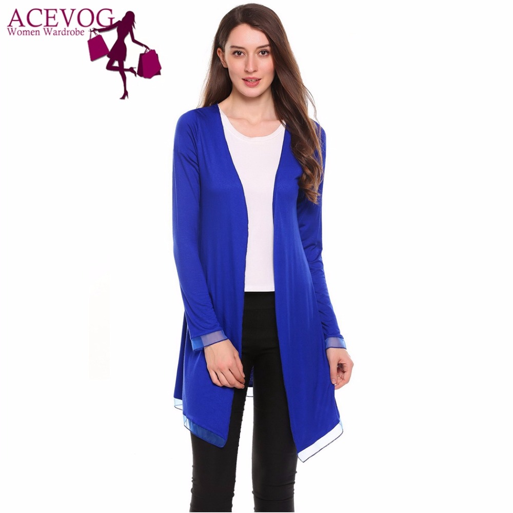ACEVOG Women Cardigan Jacket Autumn Spring Yarn Patchwork New Casual V-Neck Long Sleeve Slim Feminino Sweater Poncho Coat Tops