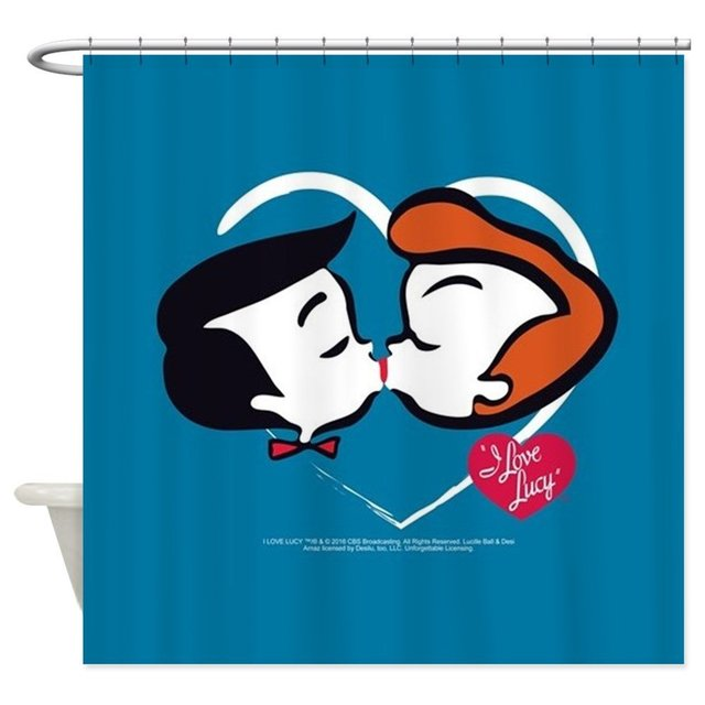 I Love Lucy Stick Heads Kiss Decorative Fabric Shower Curtain Set And Anti Slip