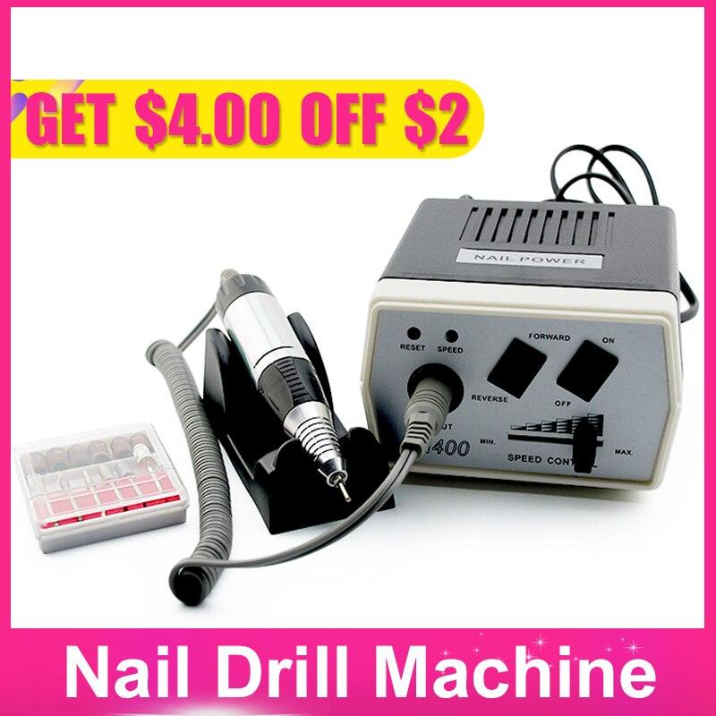 35 W Negro eléctrica uñas arte máquina de perforación de uñas de manicura pedicura archivos eléctrico manicura taladro y accesorio