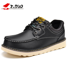 Z. suo Для Мужчин's натуральная кожа Туфли-оксфорды Кружево до открытый Повседневная обувь Для мужчин модные Черный, красный, белый цвета коричневый плоский Обувь 2017