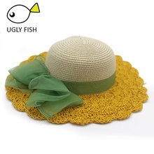 sun hat for girls foldable summer hat child raffia cute straw hat floppy beach  hats kid fc67aa14beb7