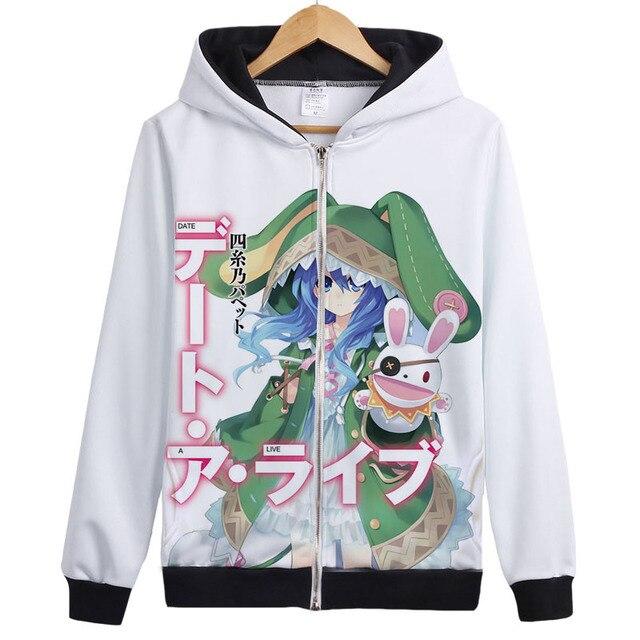 date a live cosplay tokisaki kurumi yoshino Hoodie Sweatshirt Zipper Outerwear Jacket coat cute lovely Anime Hoodies 1