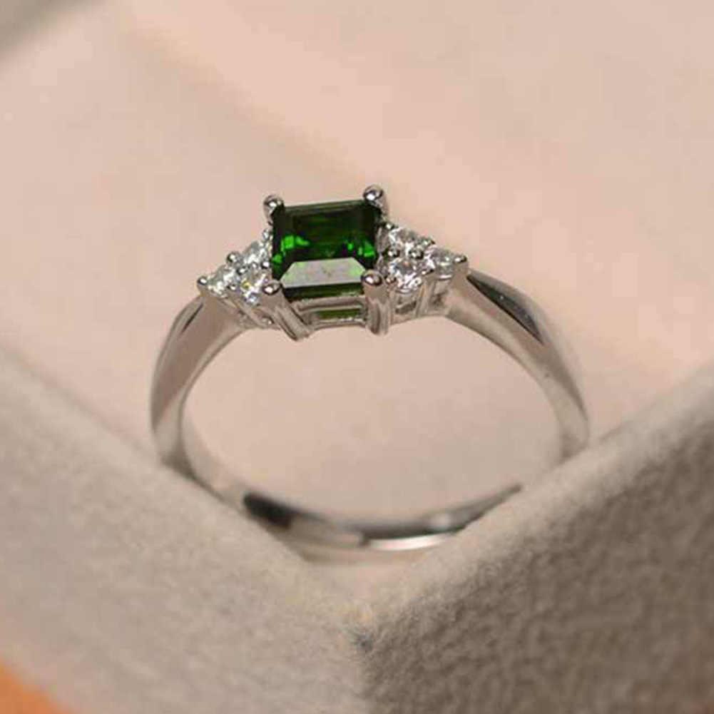 แฟชั่นผู้หญิงบิ๊กสแควร์ Cubic Zirconia ฝังแหวนงานแต่งงานของขวัญเครื่องประดับ