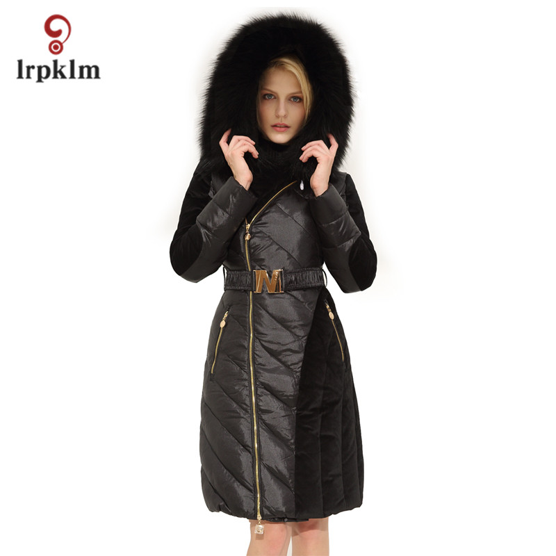 2017 New Fashion Hight Quality Women Winter Long   Down   Jackets With Big Fur Hooded Collar Female Warm Duck   Down     Coat   Slim PQ109