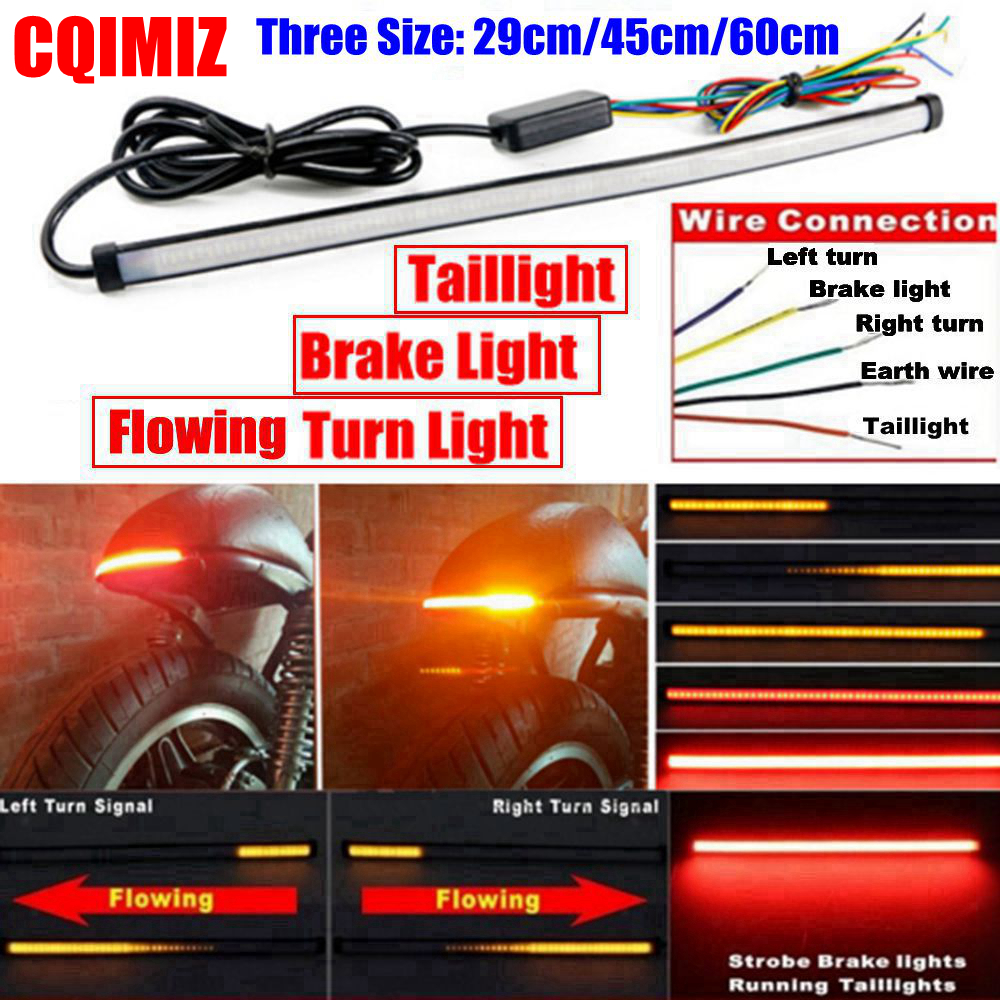290mm/450mm/600mm LED Motorcycle Universal Sequential Switchback Flowing Taillight Turn Signal Brake Light Lamp Strips