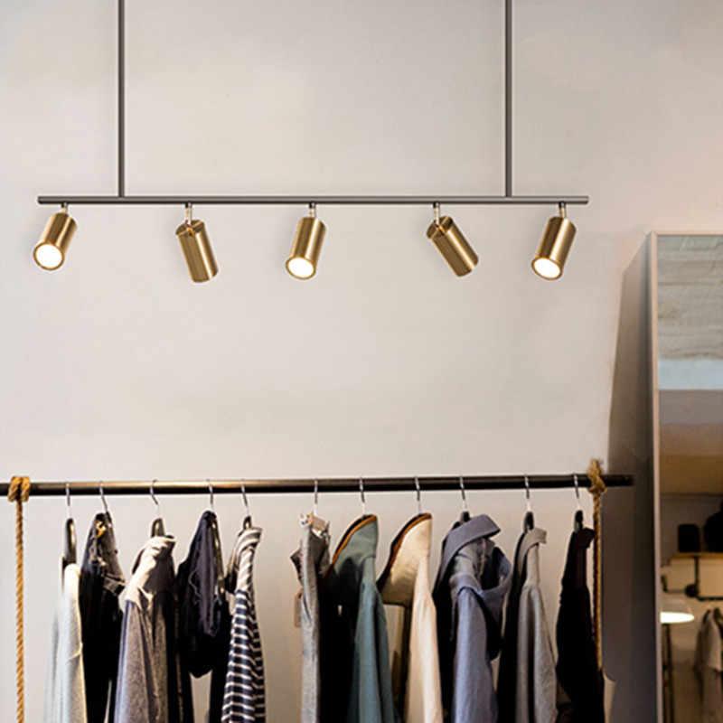 Современная Золотая люстра для гостиной, светодиодный прожектор, Скандинавский дизайн, столовая комната магазина одежды подвесные лампы