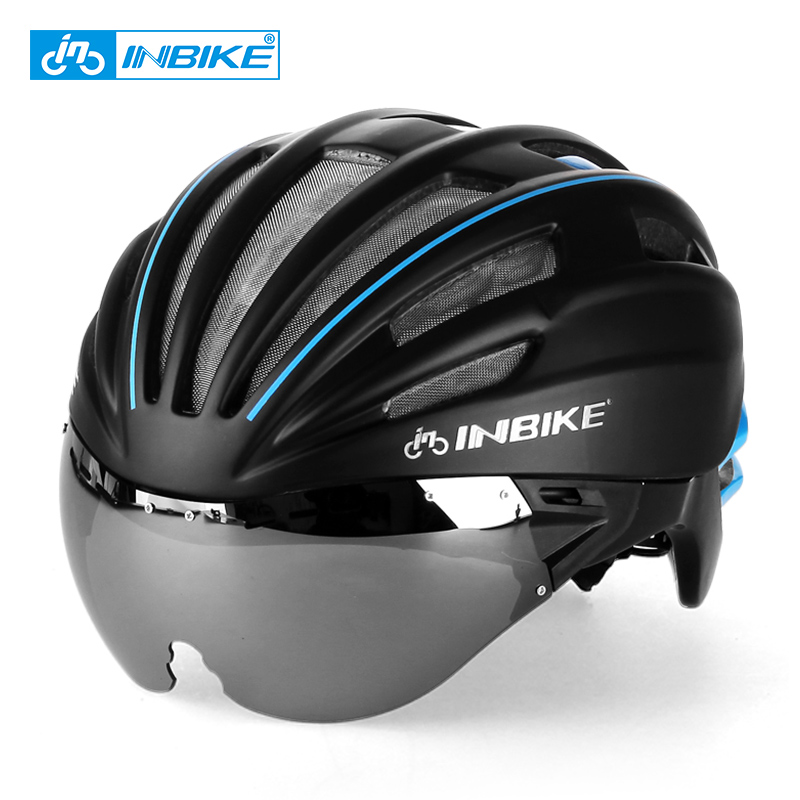 INBIKE Cycling Helmet with Glasses Women M Integrally-molded Helmet Bike Bicycle Helmets 57-62cm Head Circumference IH709 new bicycle helmets with cycling glasses ultralight breathable men women professional bike helmets mirror 3 lens h5063