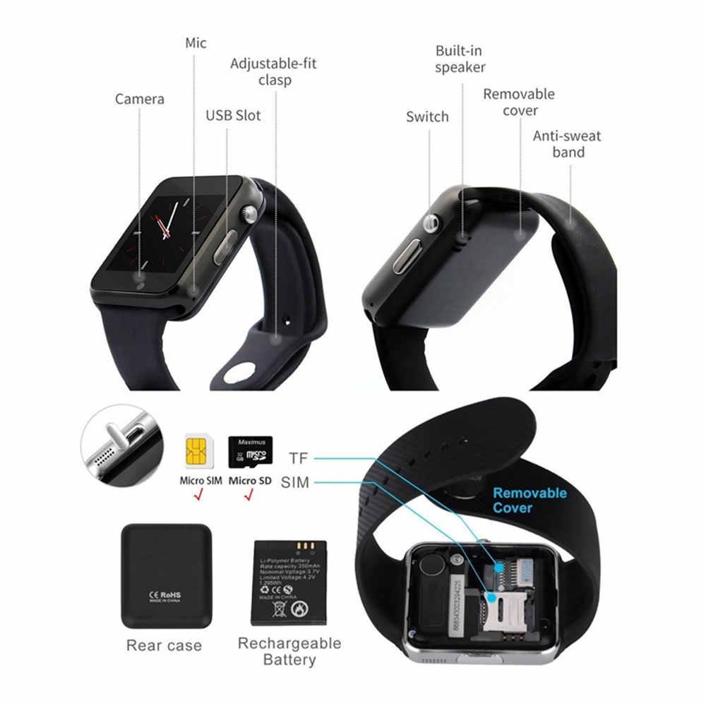 Reloj de pulsera A1 reloj inteligente Bluetooth podómetro deportivo con cámara SIM reloj inteligente para IOS Android Xiaomi teléfono inteligente Samsung