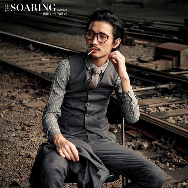 British Style Vintage Fashion Men Autumn Vest Suit Brand Clothing Slim Fit Male Waistcoats Solid Cotton Man Vest Coat A2922