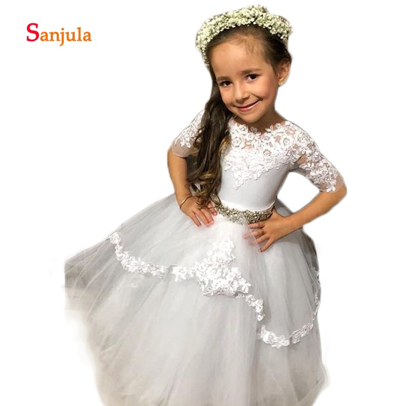 Ivory Tulle Ball Gown   Flower     Girls     Dresses   Short Sleeve Appliques   Girls   First Communion   Dresses   Tiers Beaded Waist Gowns D467