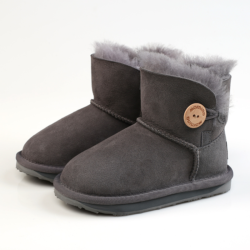2018 Girl Shoes New Style Snow Boots High-quality Button Decoration Winter Warm Comfortable Sheepskin Boots Brand Morning