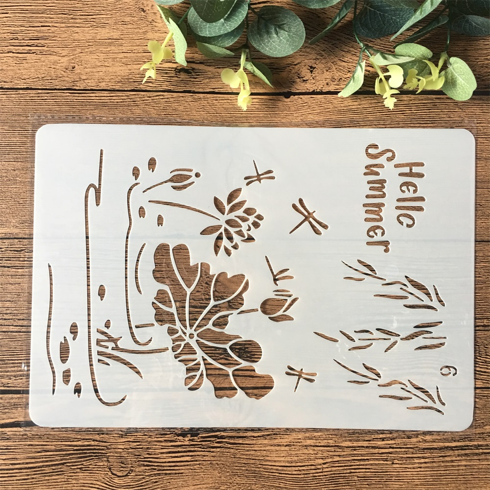 26cm Hello Summer DIY Craft Layering Stencils Painting Scrapbooking Stamping Embossing Album Paper Card Template