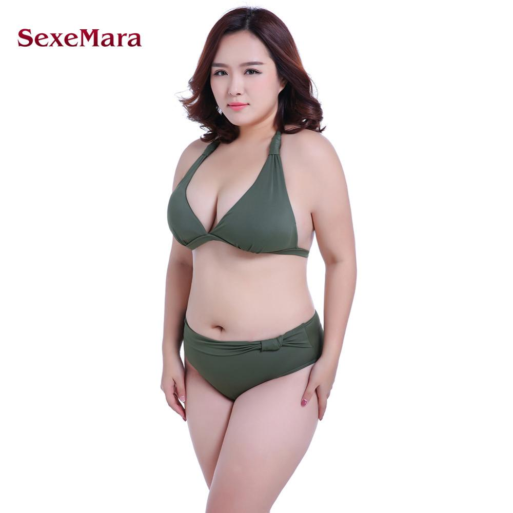 SexeMara 2017 Push up Mid Waist Swimsuit Women Bathing Suit Padded Bikini set Retro Beachwear Plus Size Swimwear XL-7XL