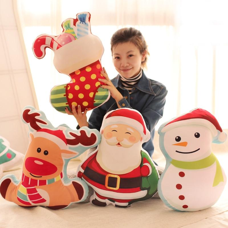 Candice guo plush toy stuffed doll merry christmas tree Stocking Snowman snowflake Santa Claus Elk cartoon pillow cushion 1pc neje st0006 4 christmas stretch santa claus gift snowman doll red white