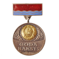 USSR Era Copper Medal Latvian Soviet Socialist Republic Supreme Council Presidium Honorary Badge Enamel Metal Commemorate Medals