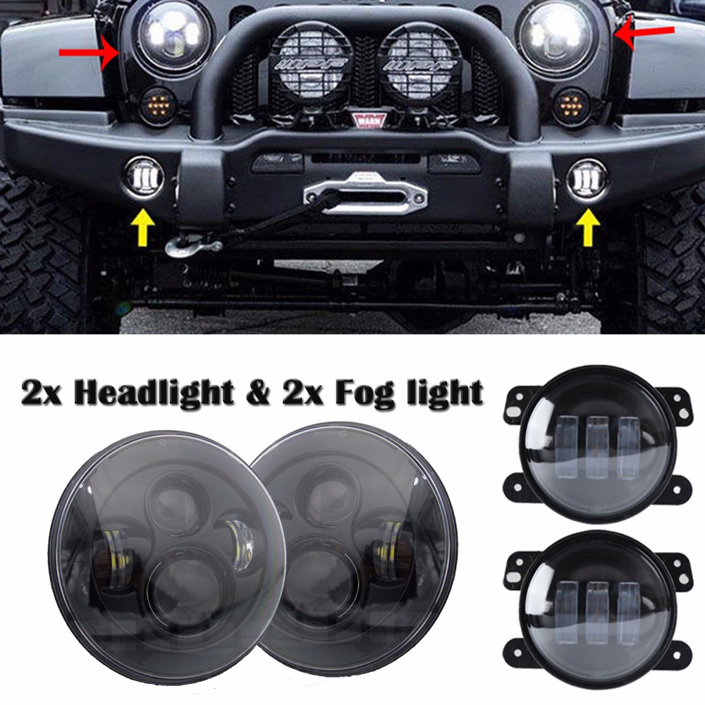 2 x DOT Approved 7 Inch LED Projector Hi/Lo Beam Headlight Matching 4 Led Fog Lights For Jeep Wrangler JK 2pcs 7 inch 75w led round headlight offroad car lamp drl hi lo beam 2 x 4 led fog lights combo kit for jeep wrangler jk