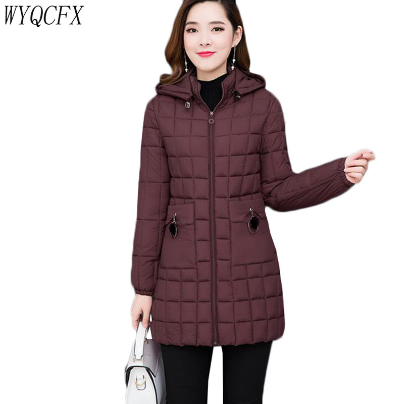 Oversized Autumn Winter Jacket Women Long hooded Down cotton Slim Cotton-padded Warm   Parka   Outerwear Female Thin Casual Top 2019
