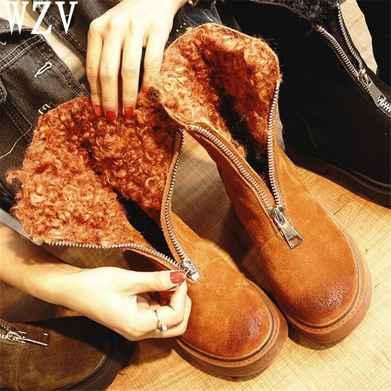 2018-Front-Zipper-Cool-Female-Snow-Boots-Plus-Fur-Winter-Shoes-Flat-Boots-Woman-Lamb-Fur