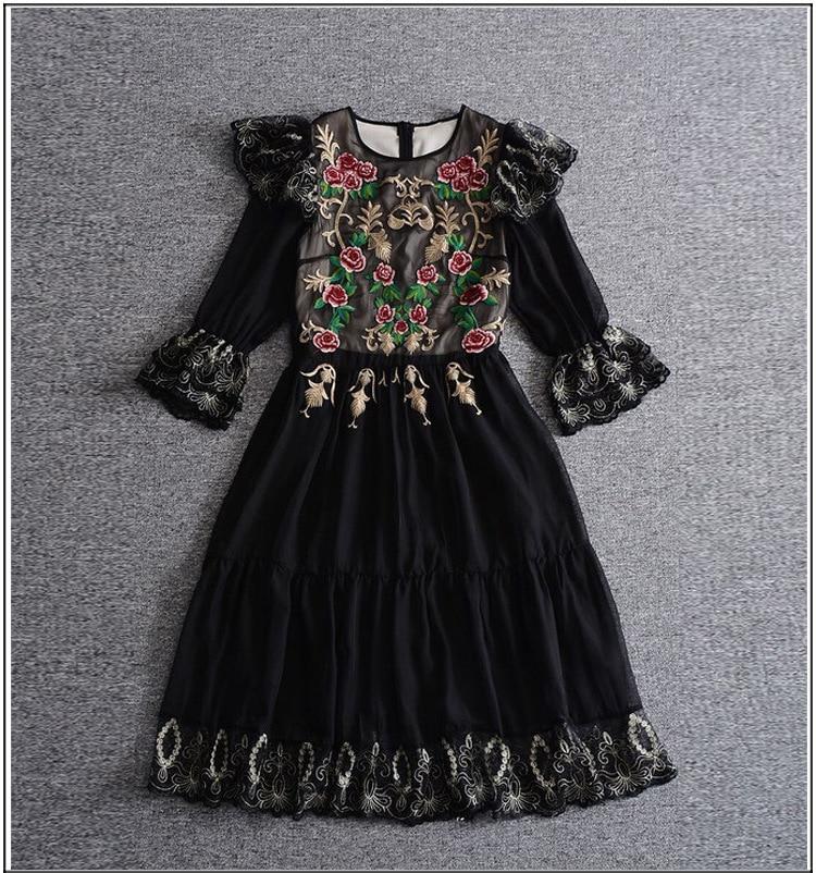 Robe Femme Ete 2017 Nueva Otoño Del Verano de La Vendimia Vestido de Las Mujeres Con Encanto Floral Bordado Vestido de Organza Vestido de La Manga de La Mariposa Negro - 2