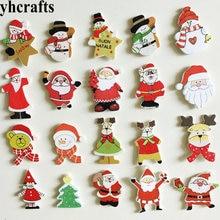 20 шт./лот, смешанные рождественские деревянные наклейки для детской комнаты, украшение на стену, материал для рукоделия, для детского сада, рождественские игрушки, подарки, OEM