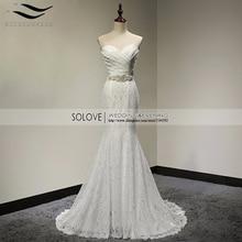 pleat bridal wedding gown real photos white lace cheap mermaid wedding dress 2017 vintage sash bride dress  2017