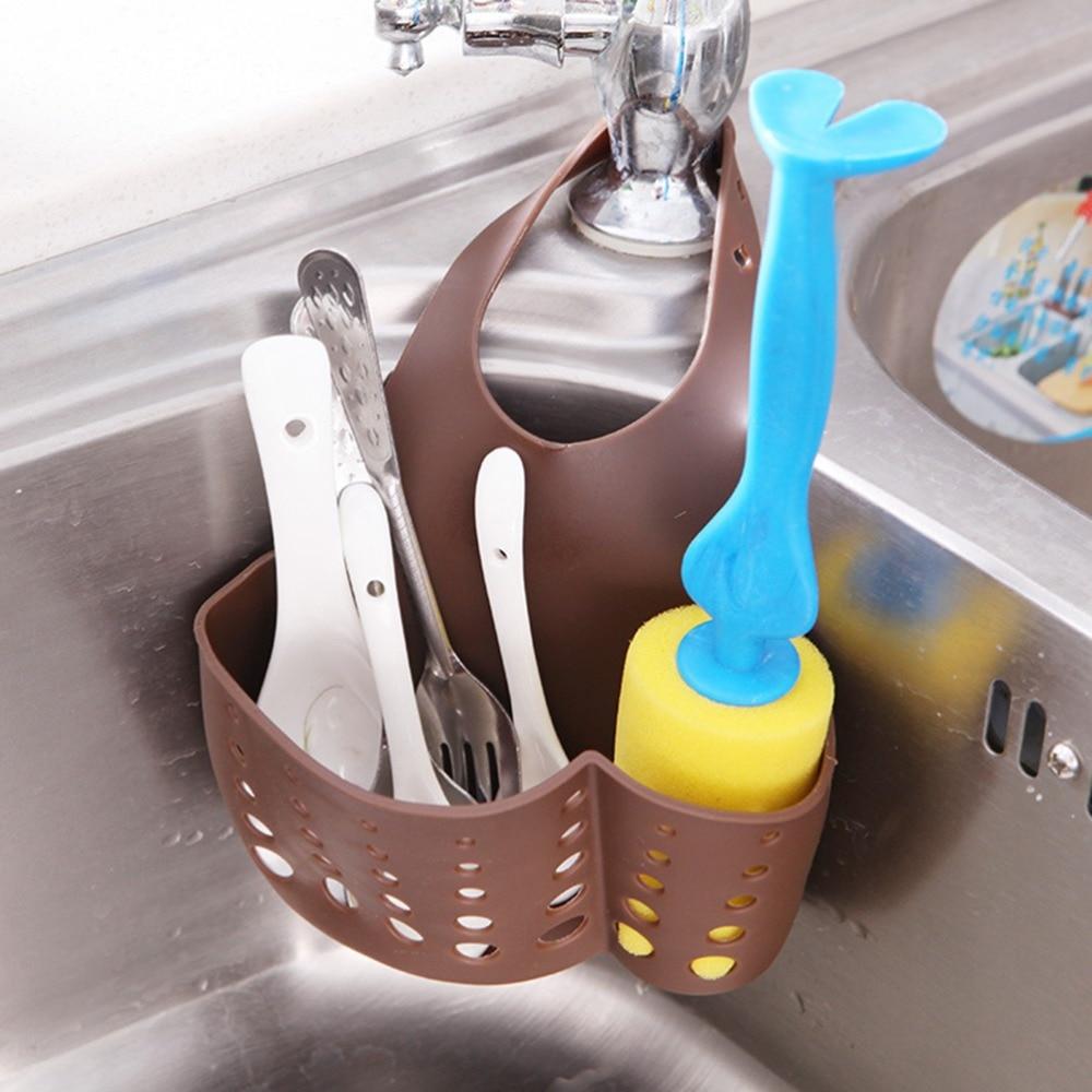 4 Colors Kitchen Bathroom Sink Sponge Hanging PVC Shelving Rack Drain Faucet Storage Pail Shelves
