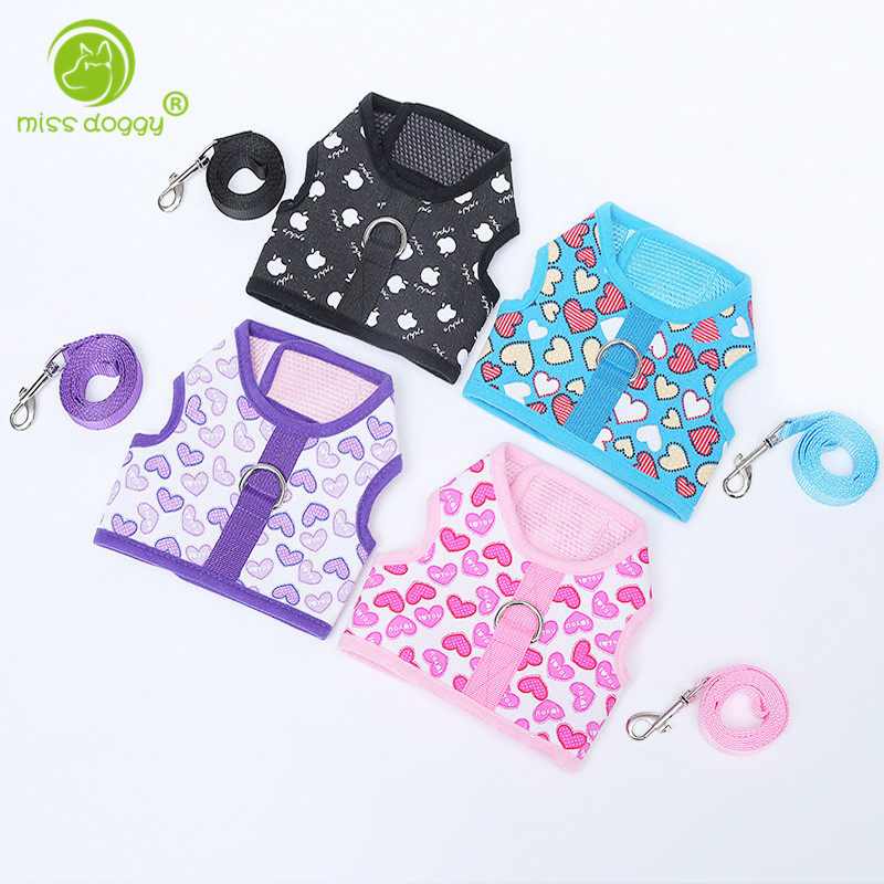 Fashion Love Printed Pet Harness Suit Safety Walking Teddy Poodle Puppy Dog Harness With Dog Leash S M L 10E