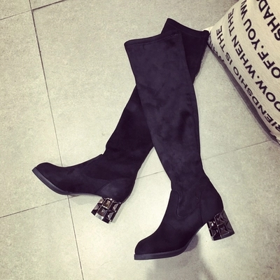 new fashion boots stretch velvet thick high heels  autumn winter women boots over the knee high round toe slip on female boots