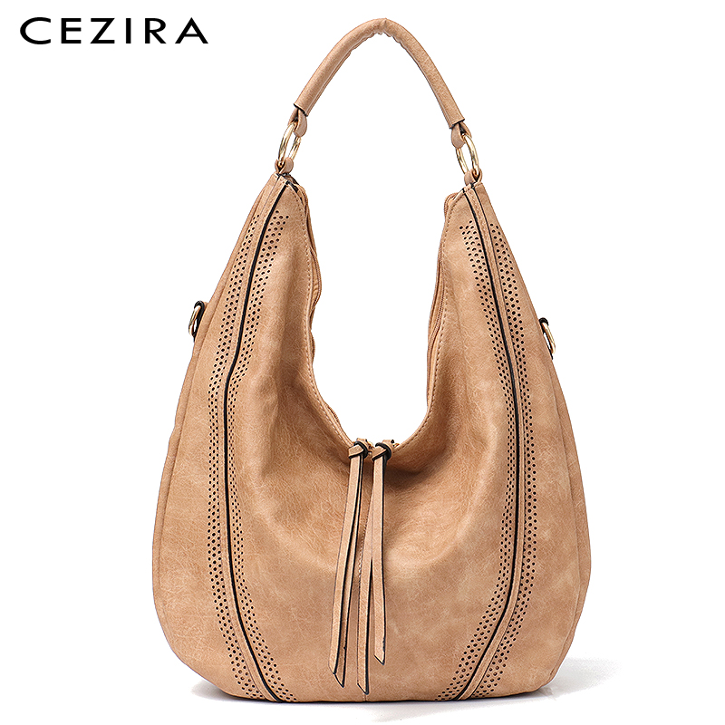 CEZIRA New Fashion Women Handbag Soft Ladies PU Leather Tassel Girls Shoulder Bag Big Large Female Studs Hobos Tote BagCEZIRA New Fashion Women Handbag Soft Ladies PU Leather Tassel Girls Shoulder Bag Big Large Female Studs Hobos Tote Bag